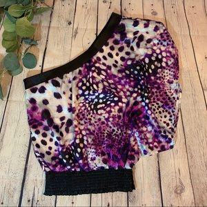 Purple Leopard Print One Shoulder Top
